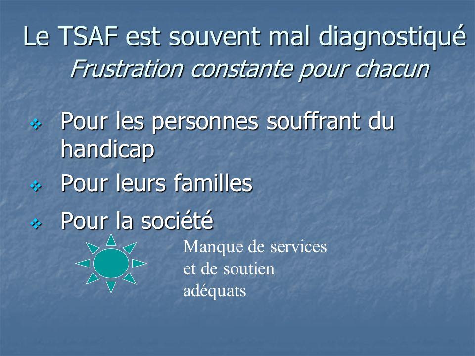 Le TSAF est souvent mal diagnostiqué Frustration constante pour chacun