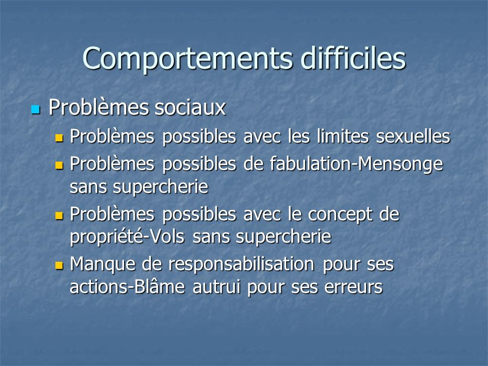 Comportements difficiles
