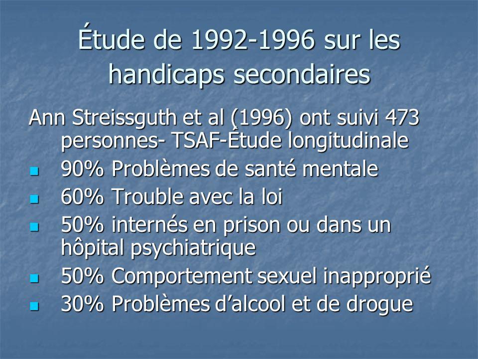 Étude de 1992-1996 sur les handicaps secondaires