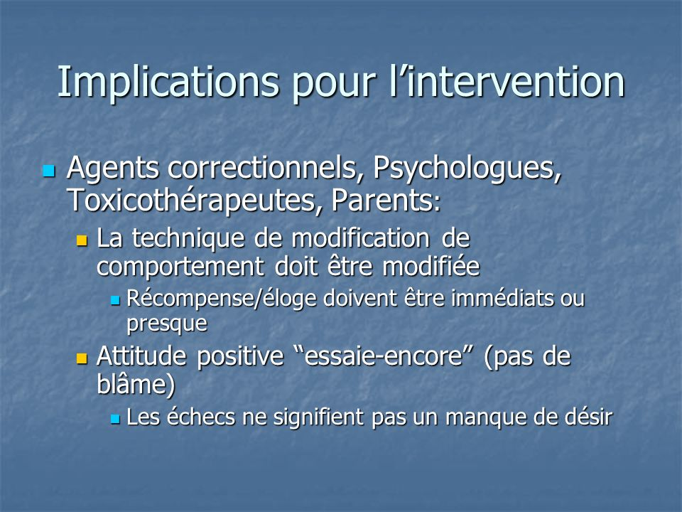 Implications pour l'intervention