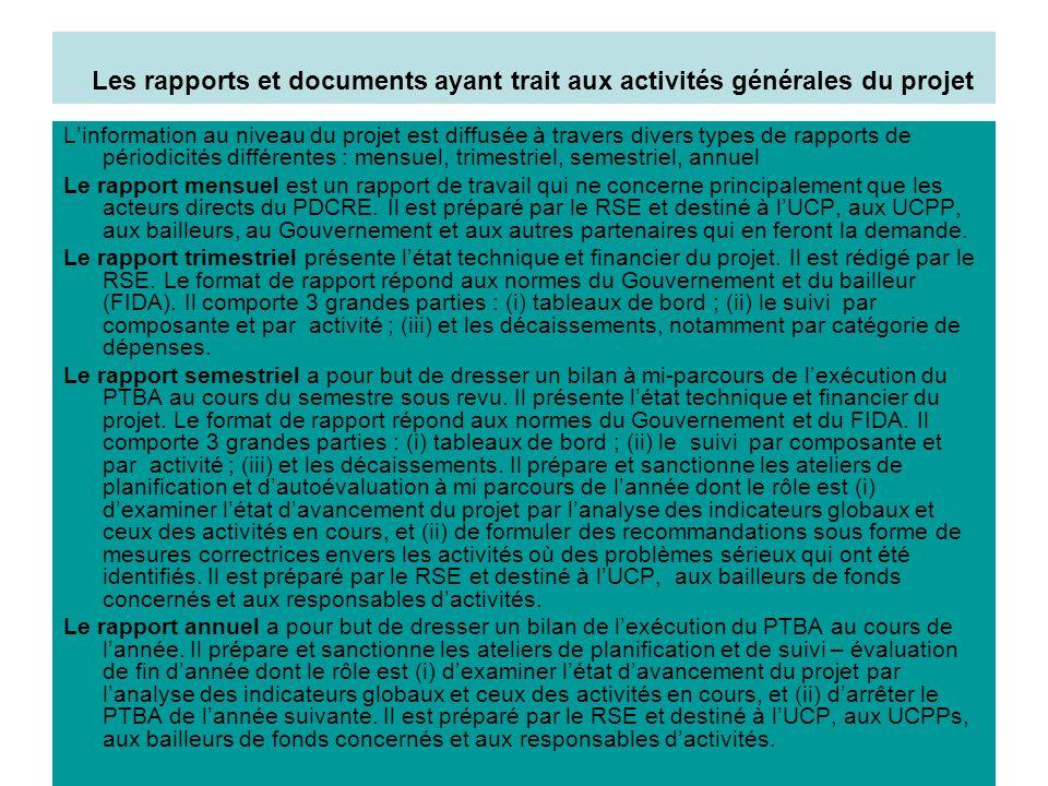 Les rapports et documents ayant trait aux activités générales du projet