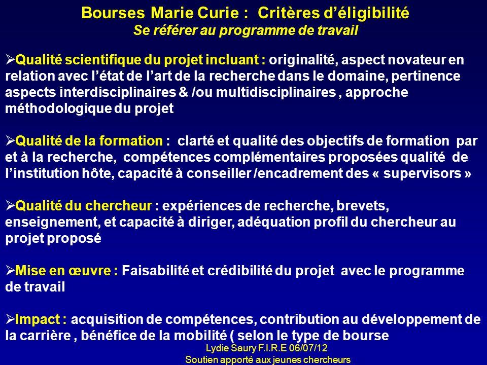 Bourses Marie Curie : Critères d'éligibilité