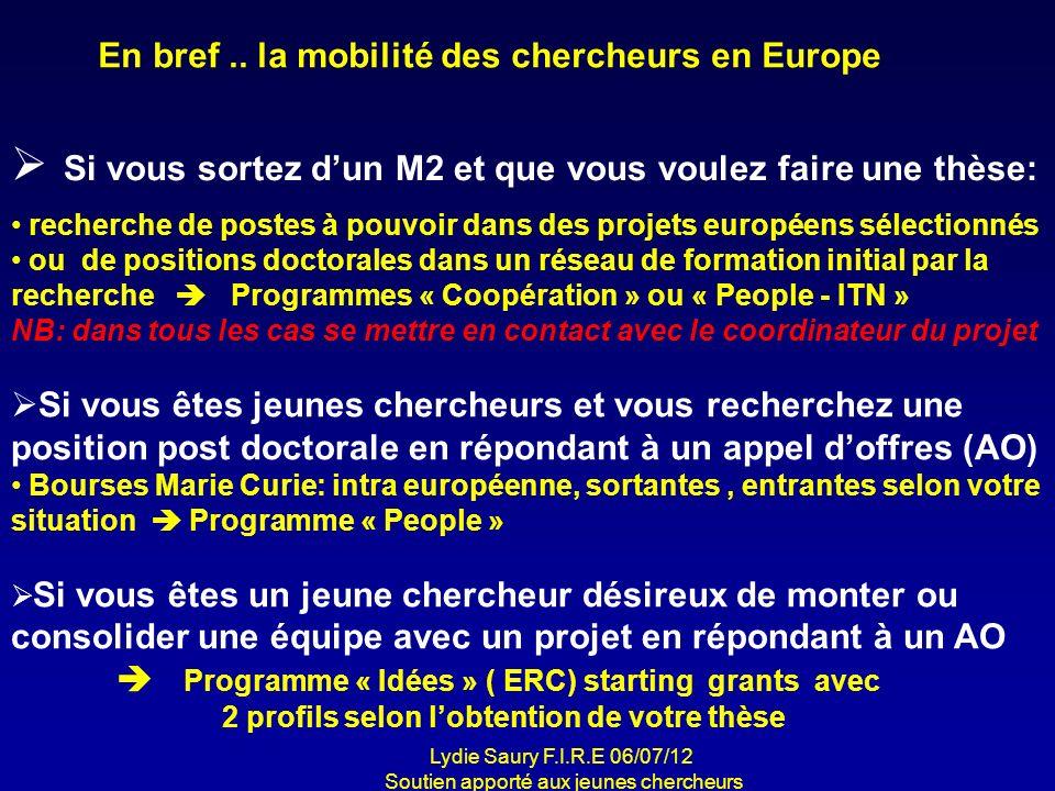 En bref .. la mobilité des chercheurs en Europe