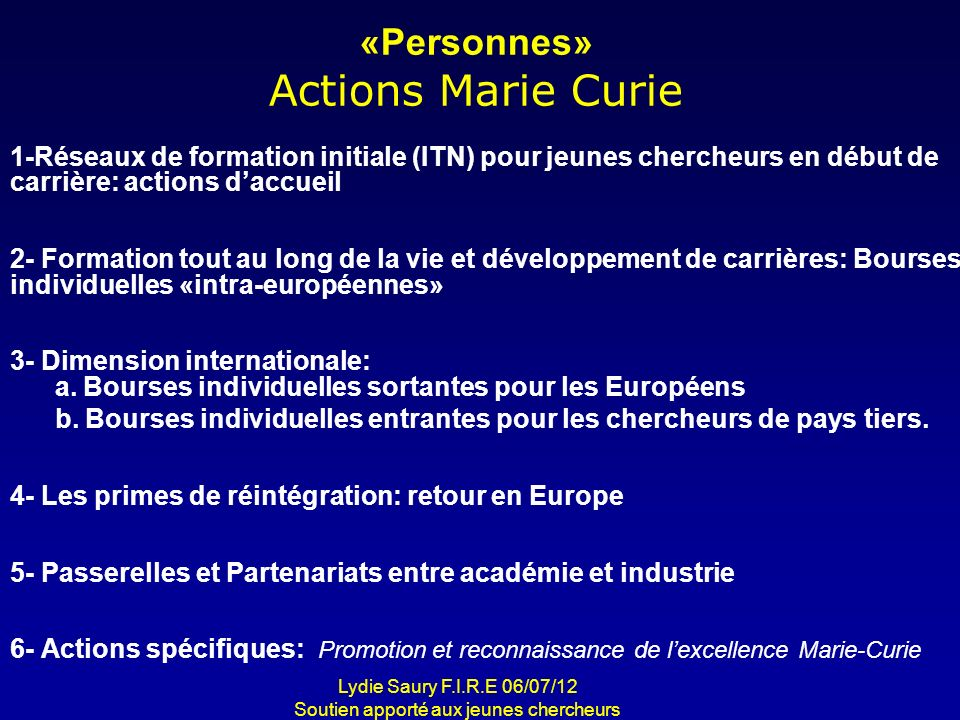 «Personnes» Actions Marie Curie