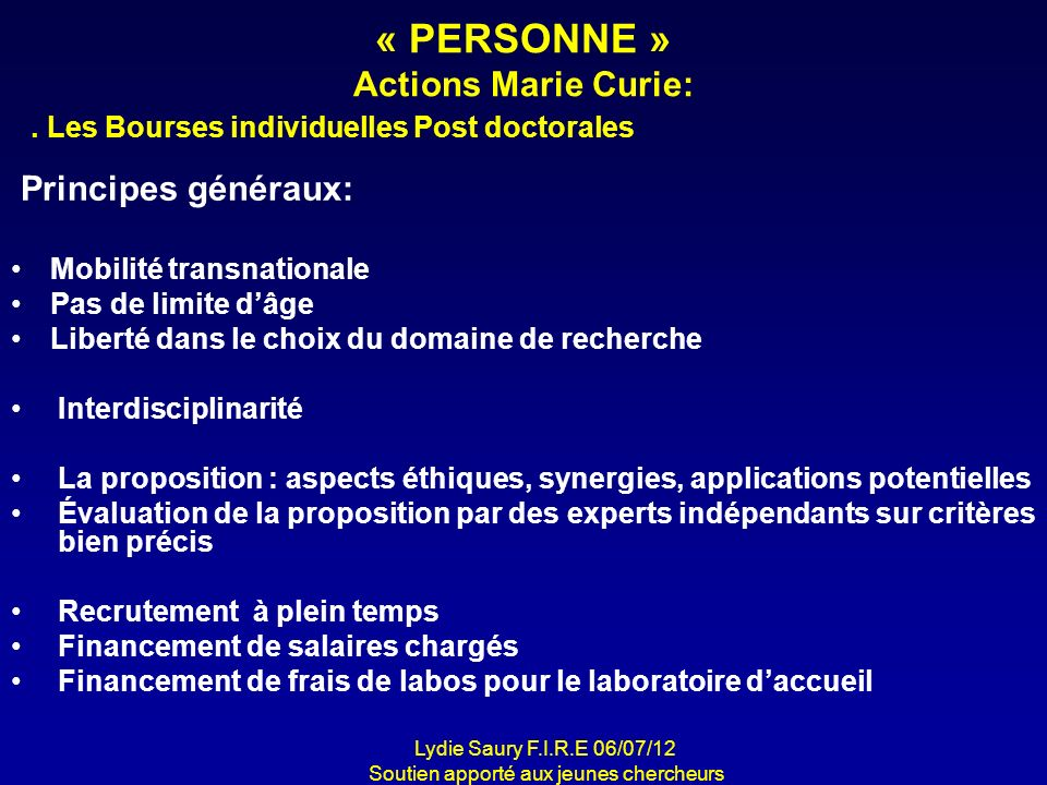 « PERSONNE » Actions Marie Curie: