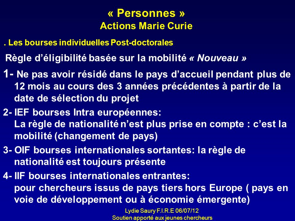 « Personnes » Actions Marie Curie