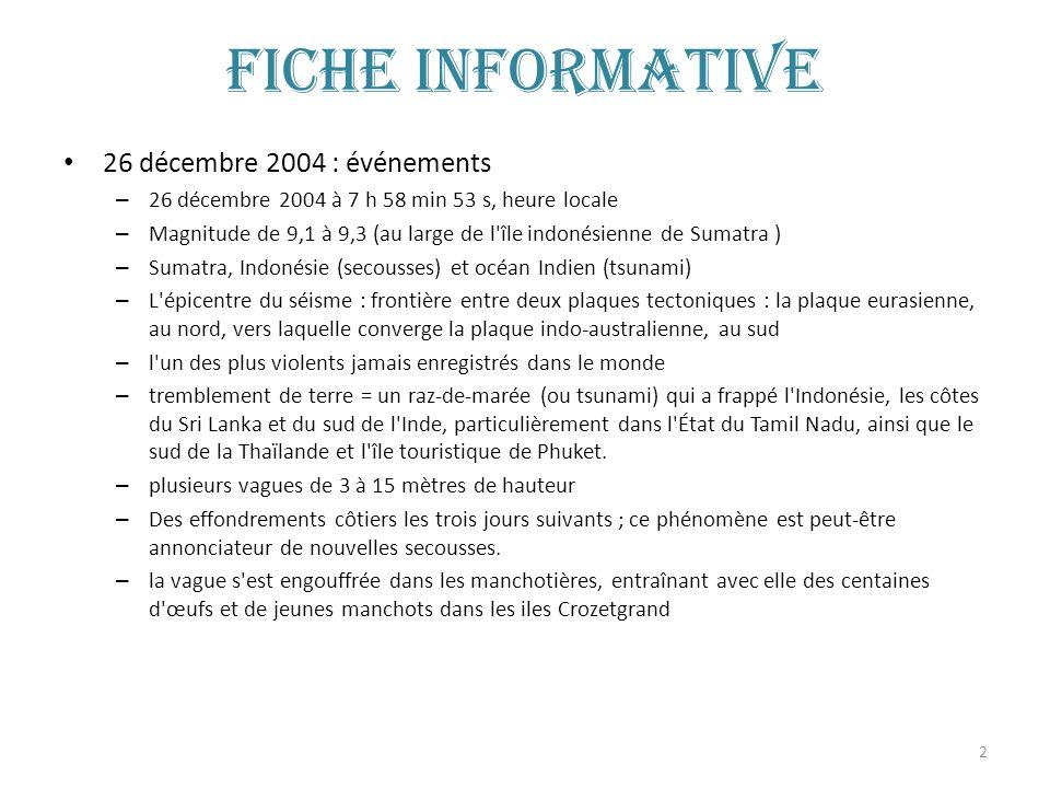 Fiche informative 26 décembre 2004 : événements