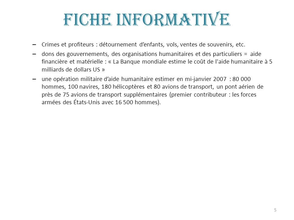 Fiche informative Crimes et profiteurs : détournement d'enfants, vols, ventes de souvenirs, etc.