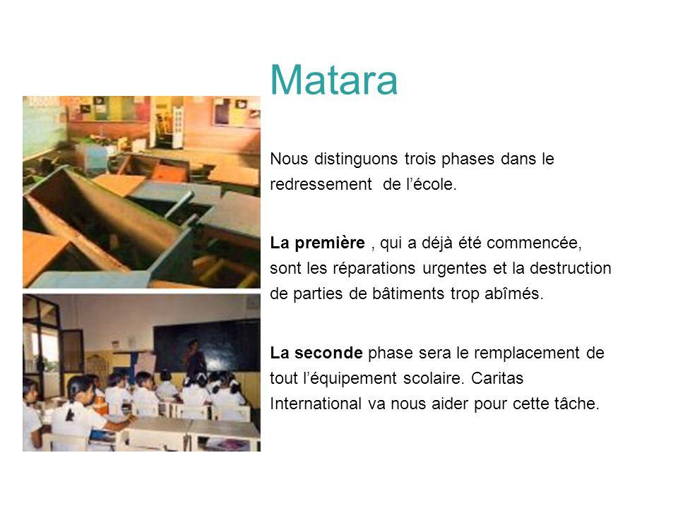 Matara Nous distinguons trois phases dans le redressement de l'école.
