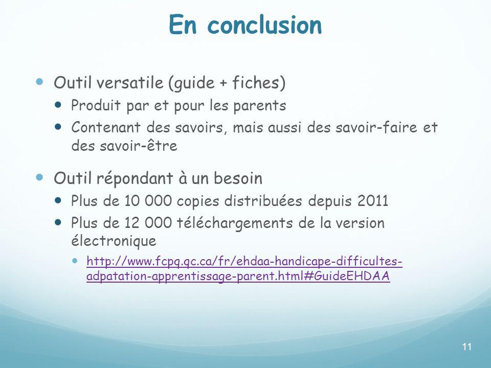 En conclusion Outil versatile (guide + fiches)