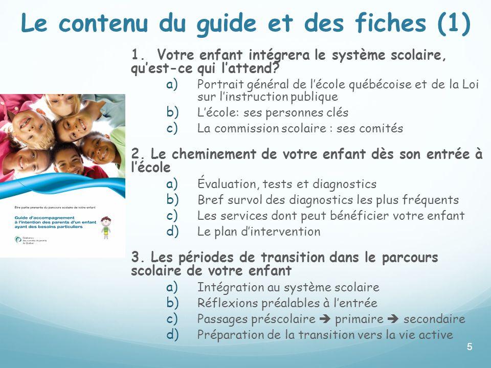 Le contenu du guide et des fiches (1)