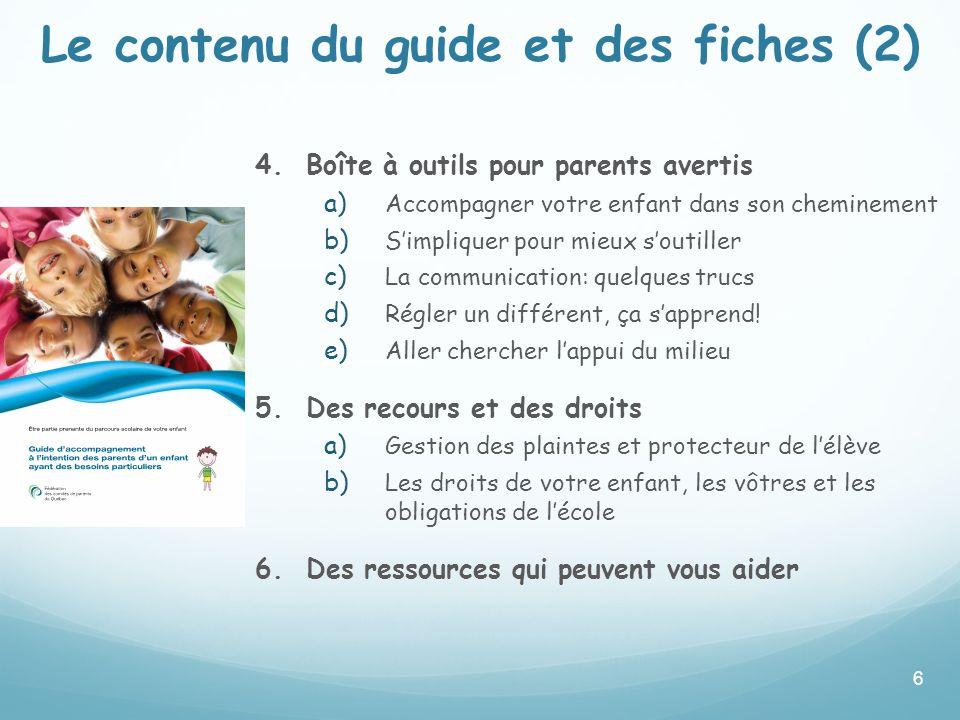 Le contenu du guide et des fiches (2)