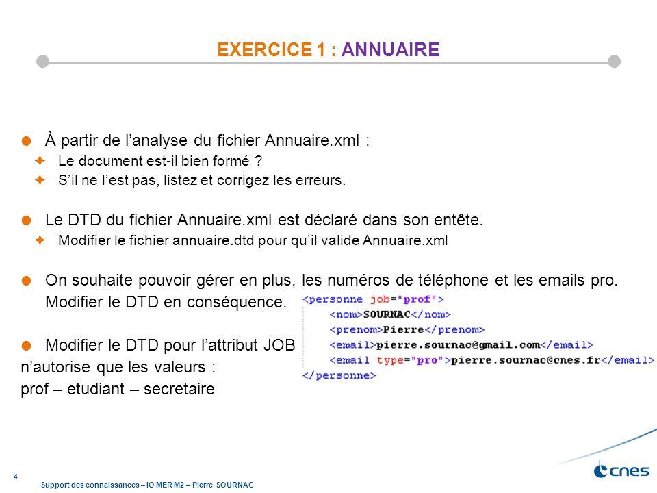 EXERCICE 1 : ANNUAIRE À partir de l'analyse du fichier Annuaire.xml :