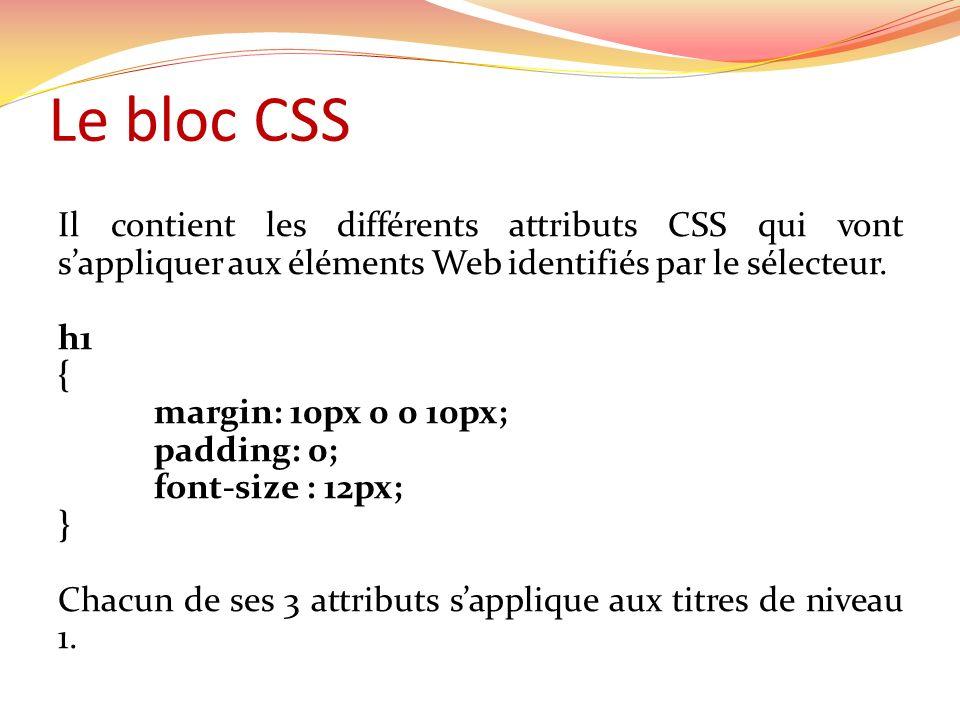 Le bloc CSS Il contient les différents attributs CSS qui vont s'appliquer aux éléments Web identifiés par le sélecteur.
