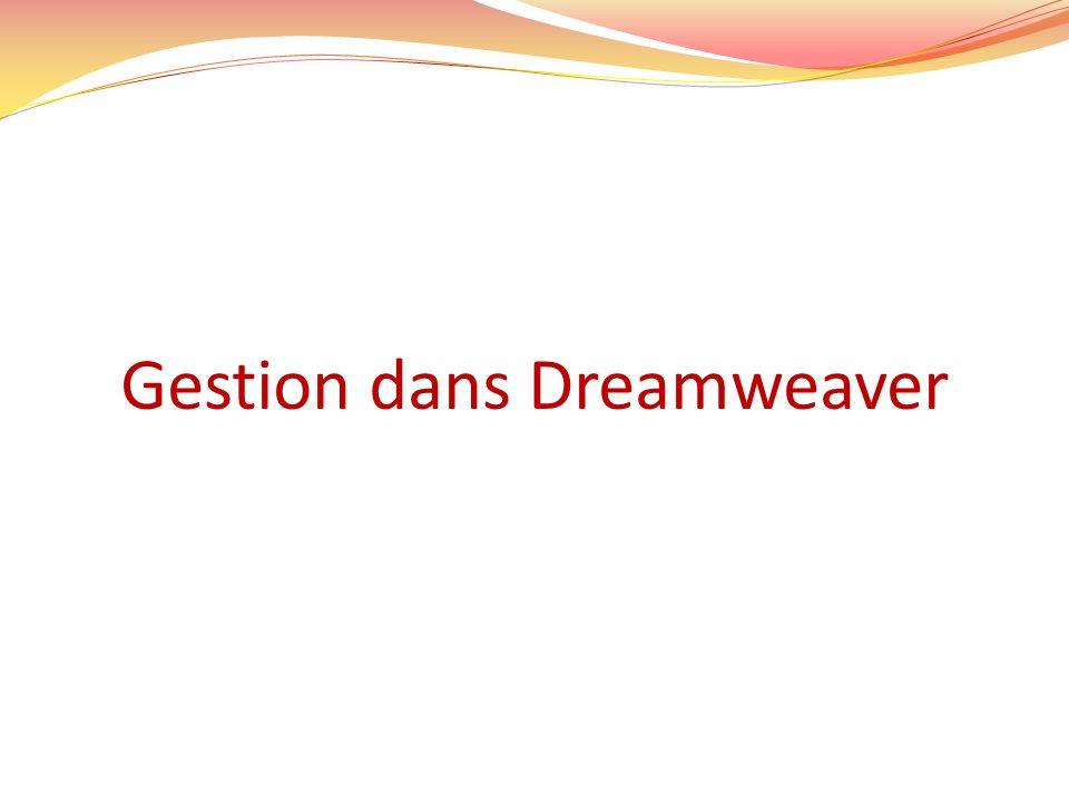 Gestion dans Dreamweaver