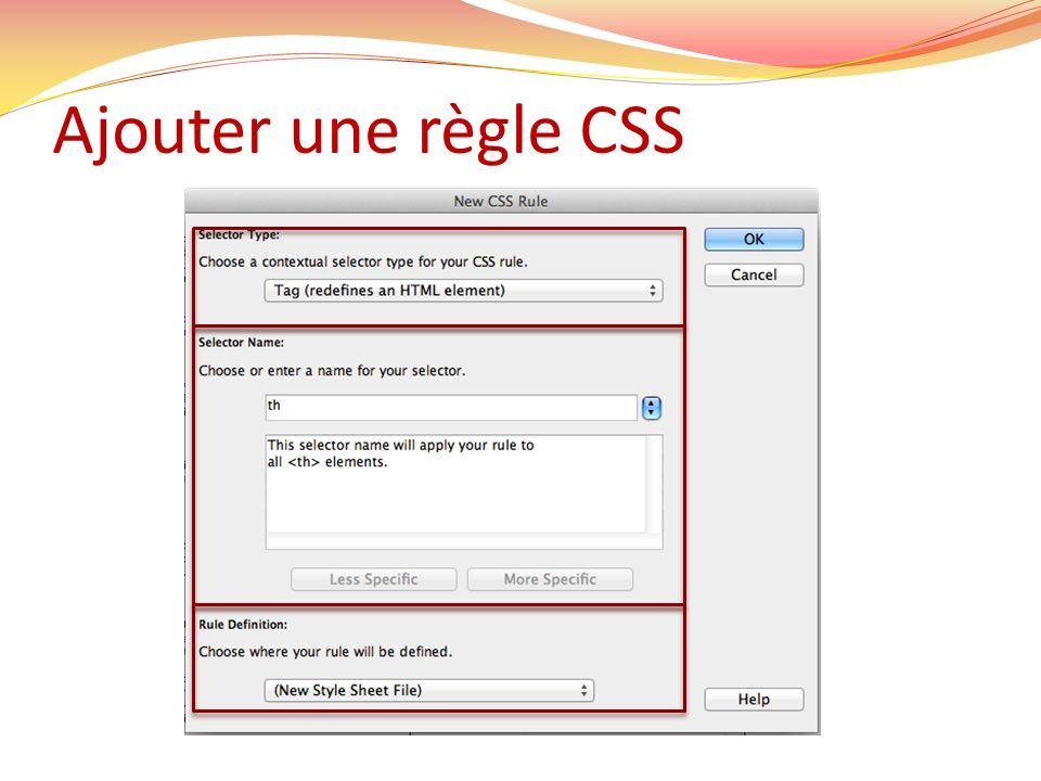 Ajouter une règle CSS