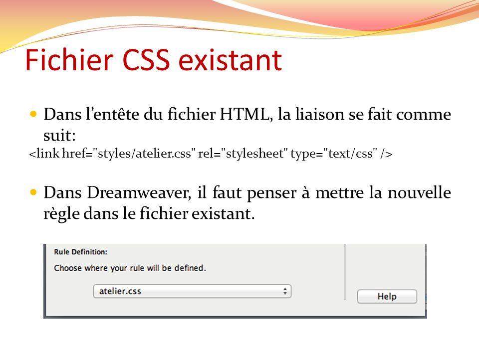 Fichier CSS existant Dans l'entête du fichier HTML, la liaison se fait comme suit: