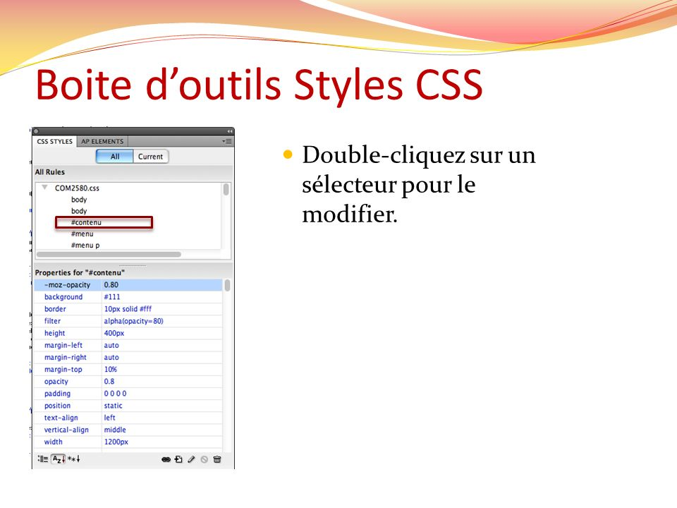 Boite d'outils Styles CSS