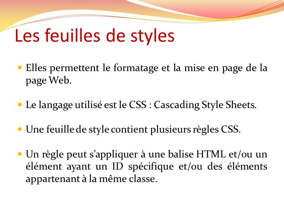 Les feuilles de styles Elles permettent le formatage et la mise en page de la page Web. Le langage utilisé est le CSS : Cascading Style Sheets.