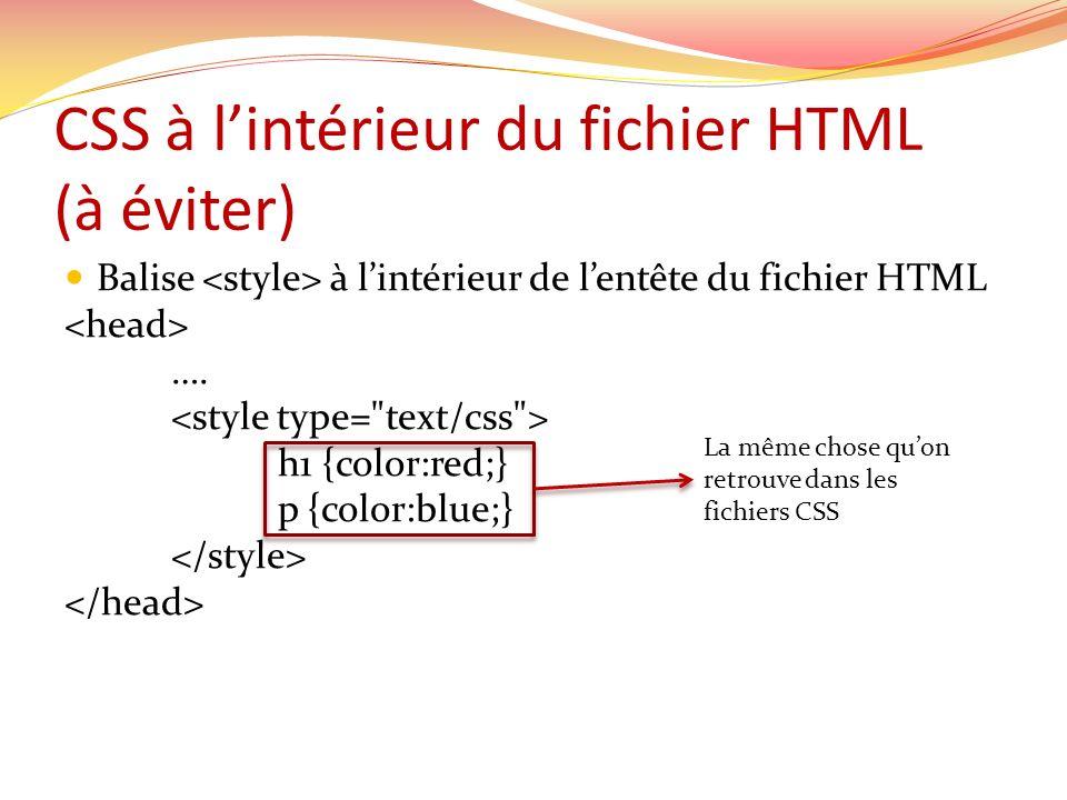 CSS à l'intérieur du fichier HTML (à éviter)