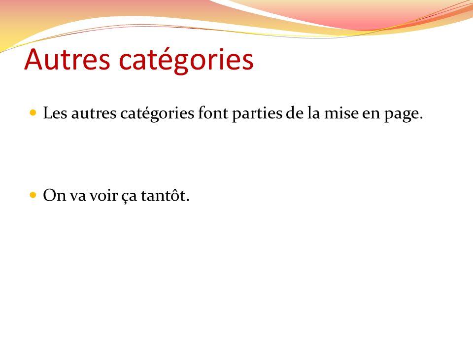 Autres catégories Les autres catégories font parties de la mise en page. On va voir ça tantôt.