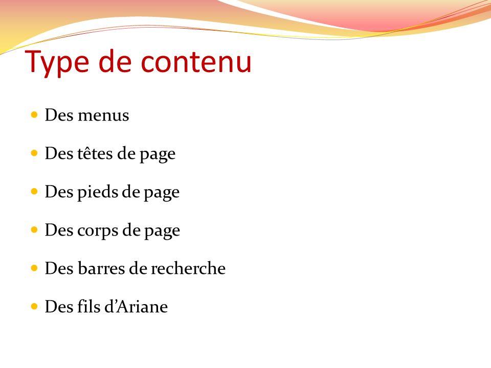 Type de contenu Des menus Des têtes de page Des pieds de page