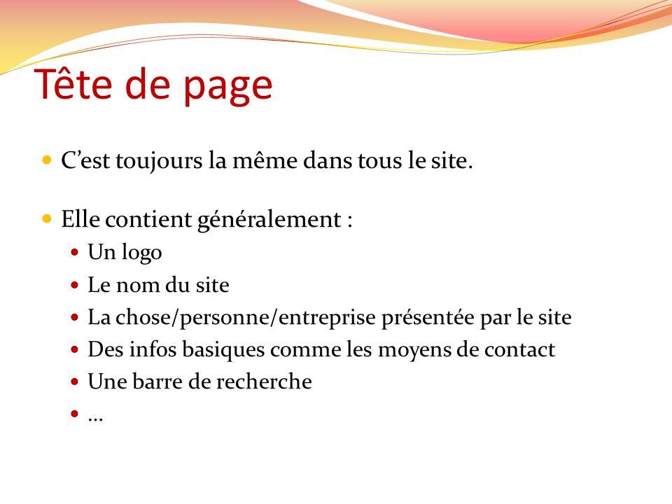 Tête de page C'est toujours la même dans tous le site.