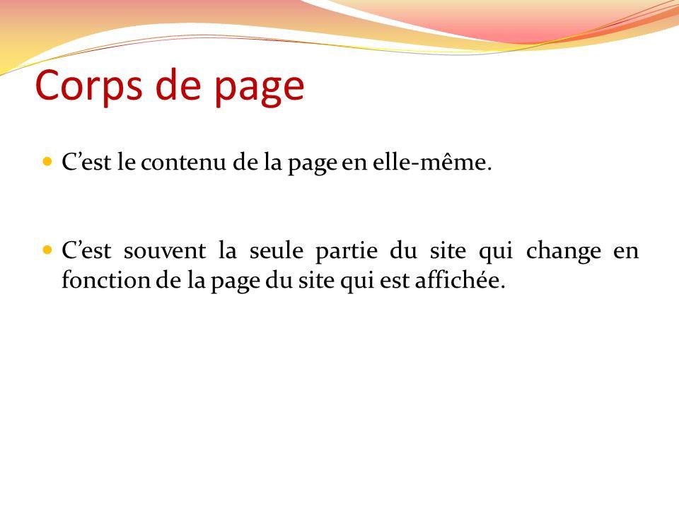 Corps de page C'est le contenu de la page en elle-même.