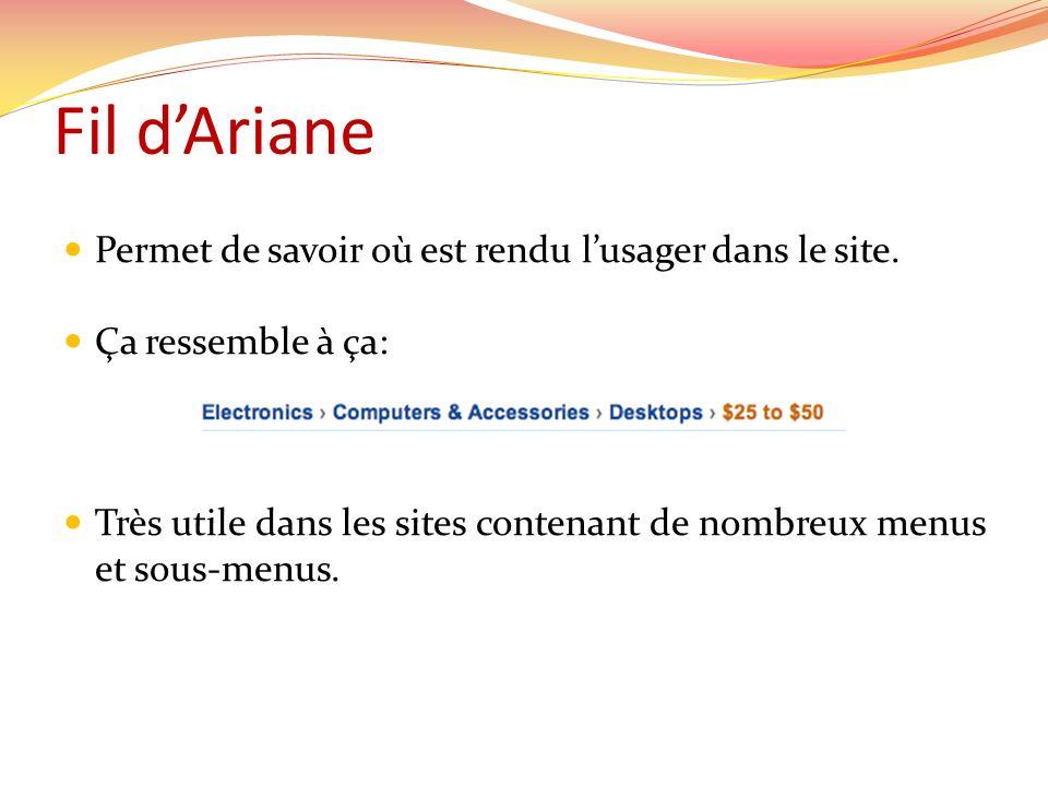 Fil d'Ariane Permet de savoir où est rendu l'usager dans le site.