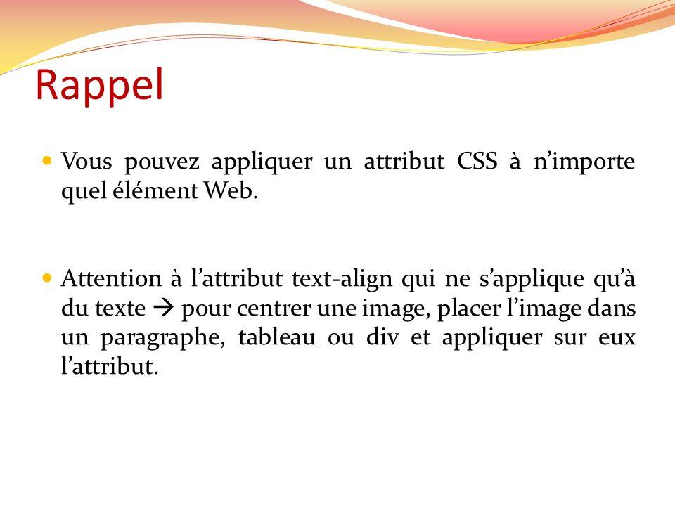 Rappel Vous pouvez appliquer un attribut CSS à n'importe quel élément Web.