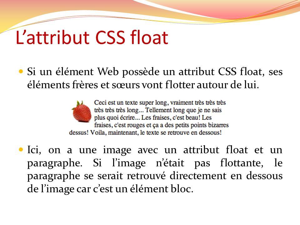 L'attribut CSS float Si un élément Web possède un attribut CSS float, ses éléments frères et sœurs vont flotter autour de lui.