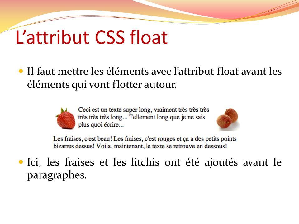 L'attribut CSS float Il faut mettre les éléments avec l'attribut float avant les éléments qui vont flotter autour.