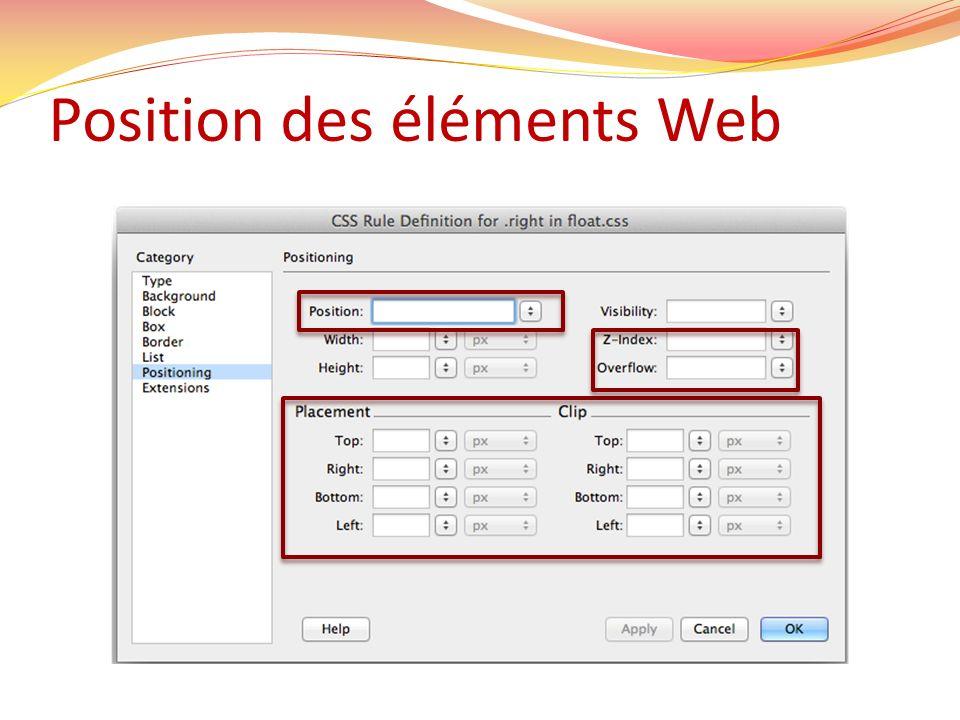 Position des éléments Web