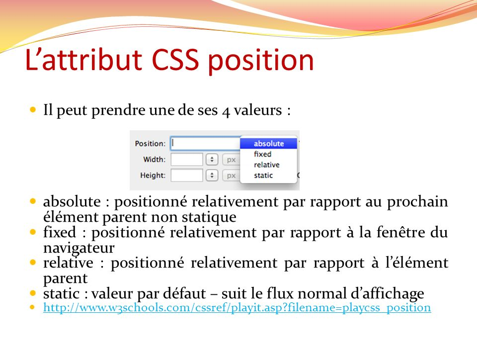 L'attribut CSS position