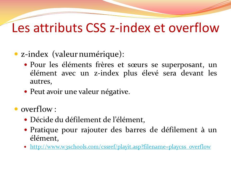 Les attributs CSS z-index et overflow