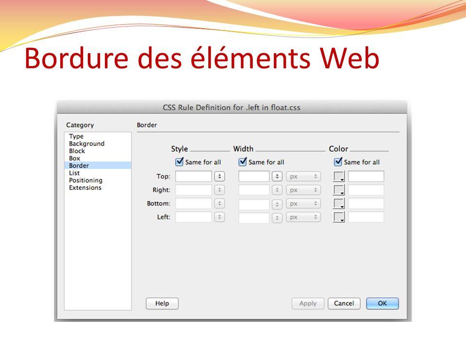 Bordure des éléments Web