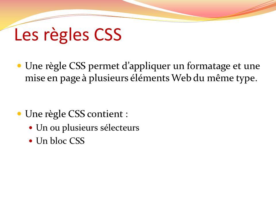 Les règles CSS Une règle CSS permet d'appliquer un formatage et une mise en page à plusieurs éléments Web du même type.