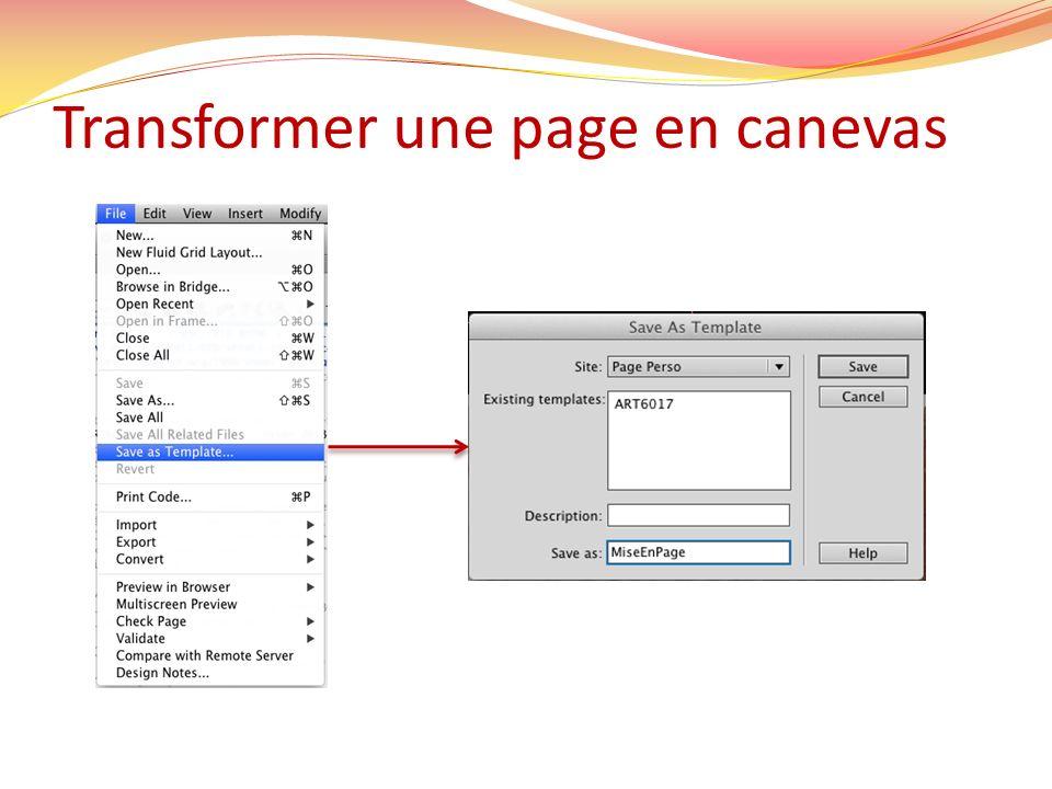 Transformer une page en canevas