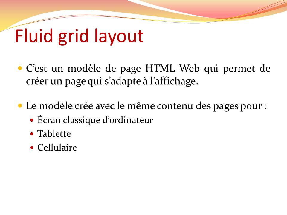 Fluid grid layout C'est un modèle de page HTML Web qui permet de créer un page qui s'adapte à l'affichage.