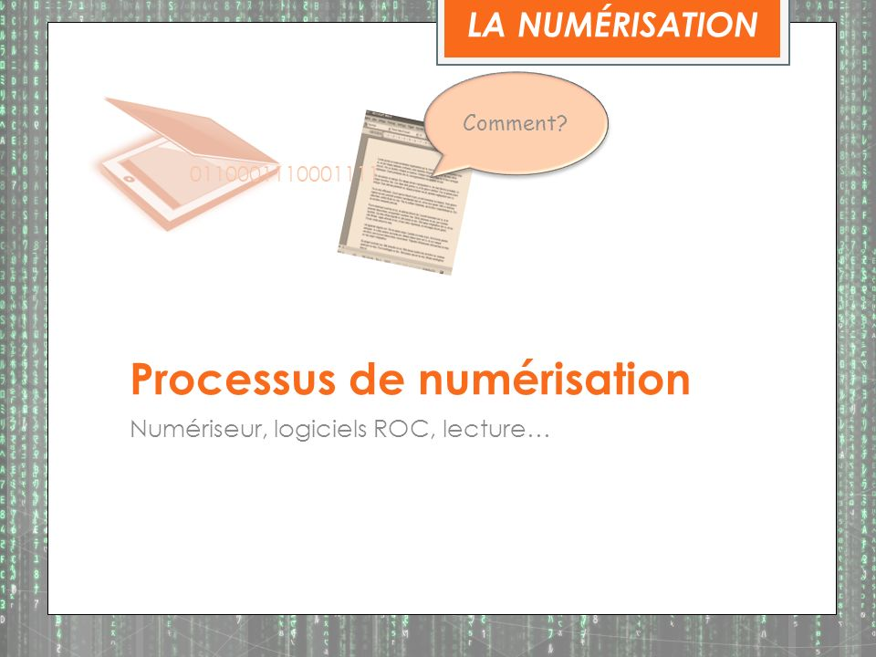 Processus de numérisation