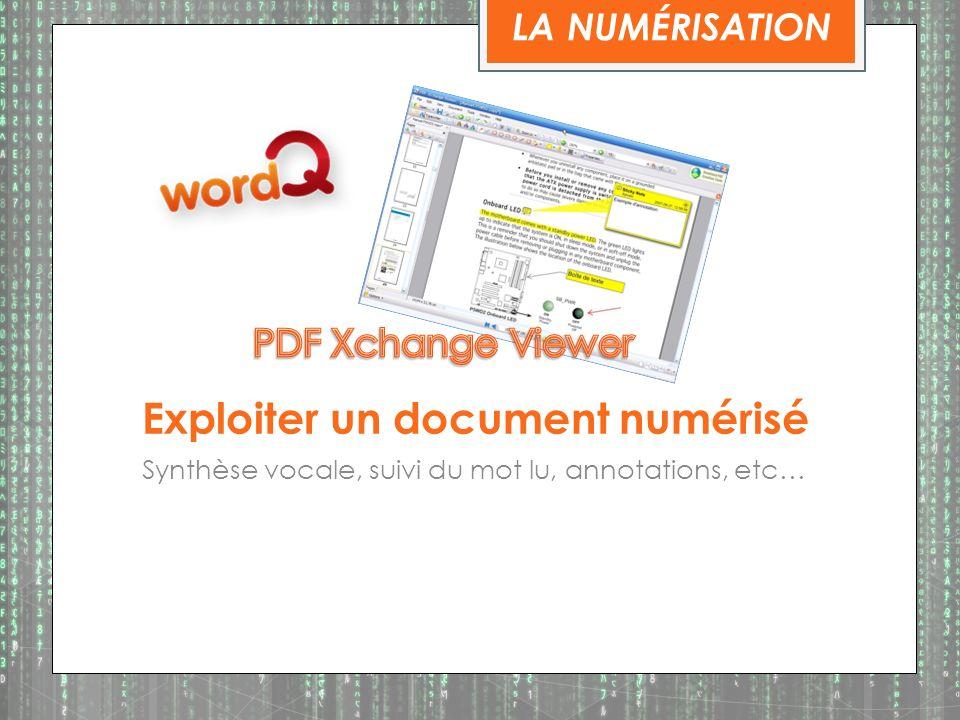 Exploiter un document numérisé