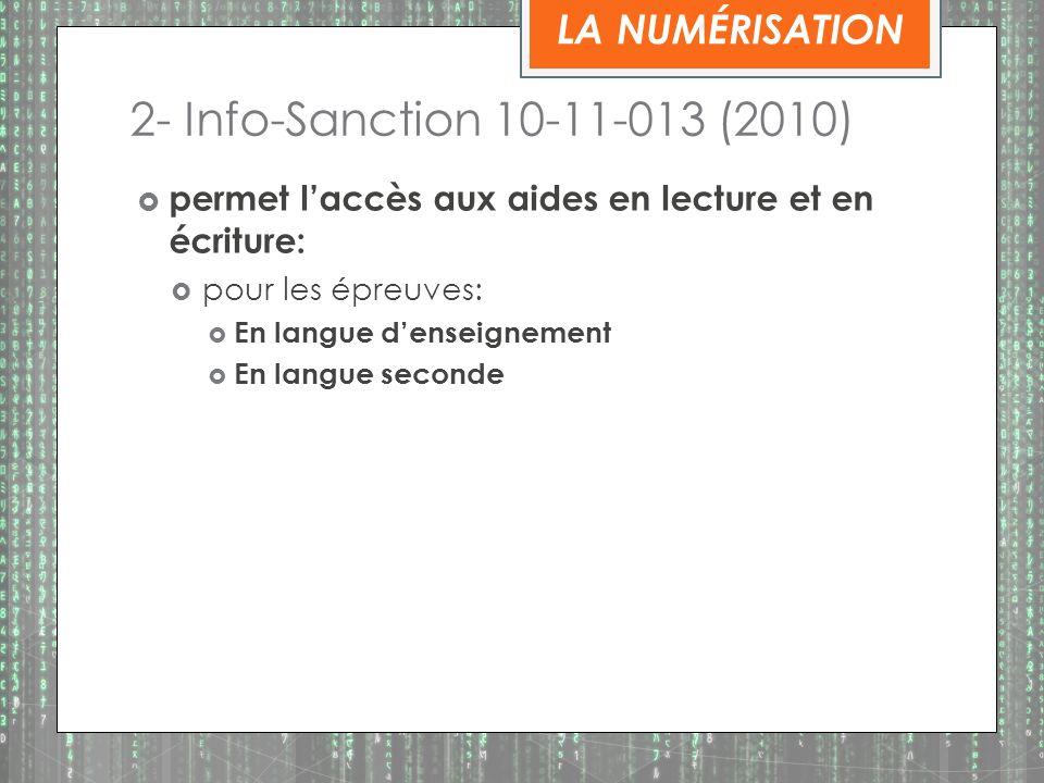 2- Info-Sanction 10-11-013 (2010) LA NUMÉRISATION