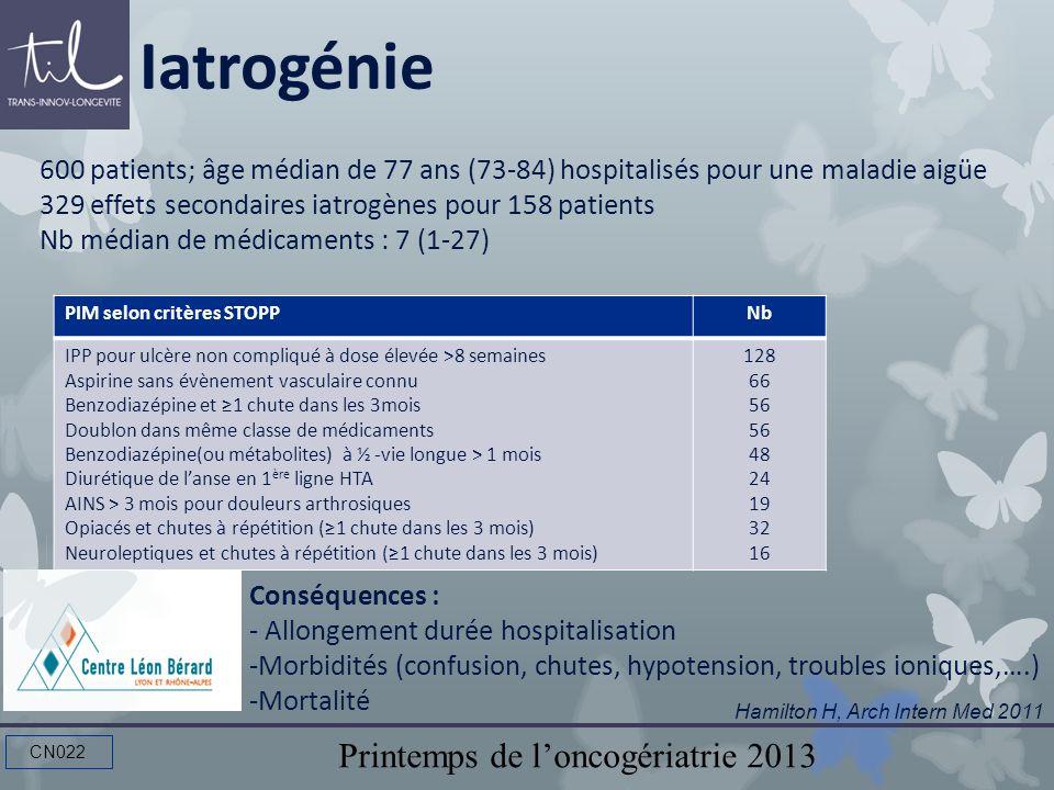 Iatrogénie 600 patients; âge médian de 77 ans (73-84) hospitalisés pour une maladie aigüe. 329 effets secondaires iatrogènes pour 158 patients.