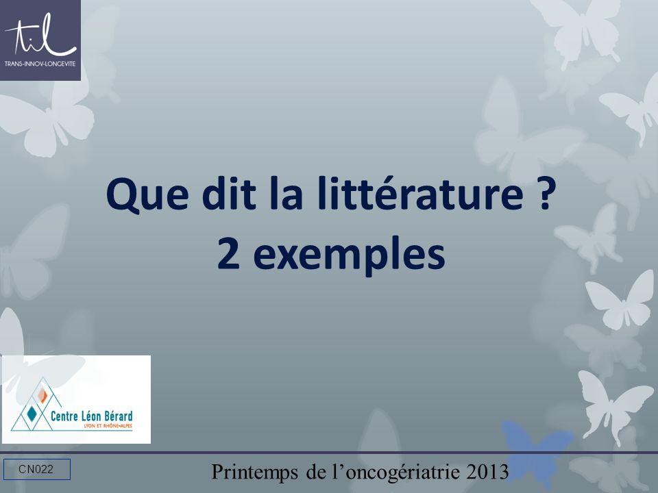 Que dit la littérature 2 exemples