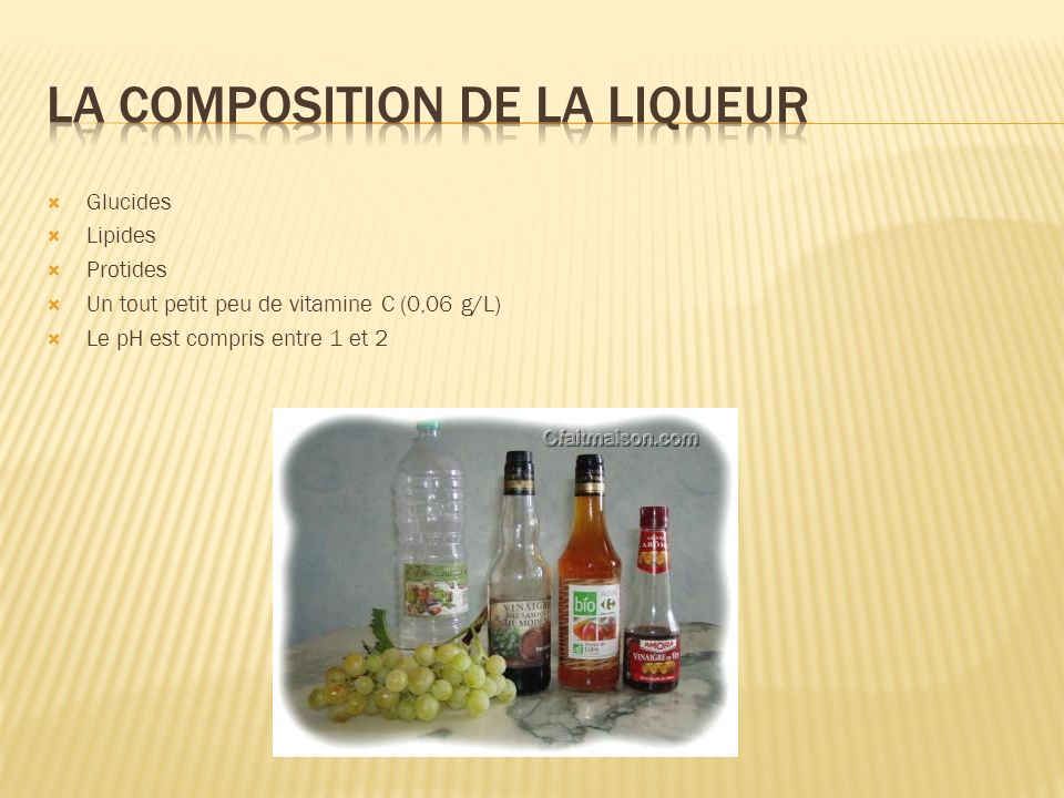 la composition de la liqueur