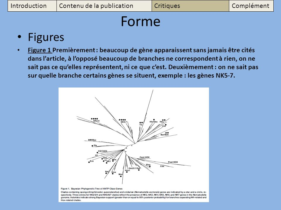 Forme Figures Introduction Contenu de la publication Critiques