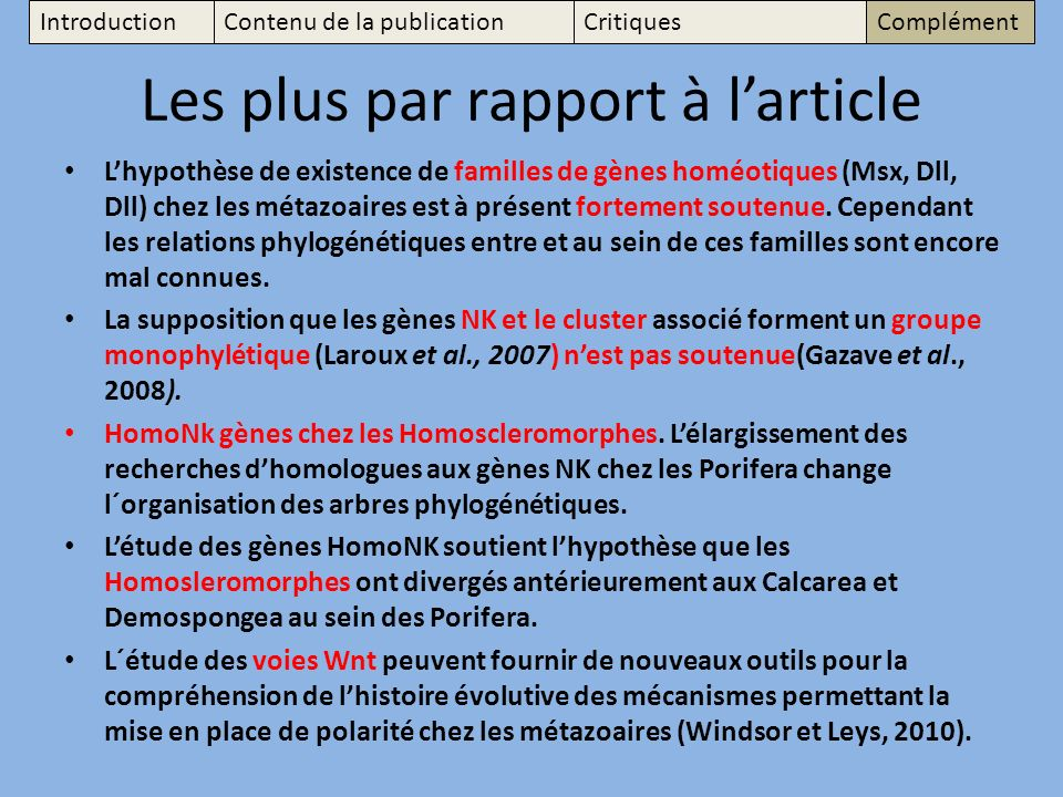 Les plus par rapport à l'article
