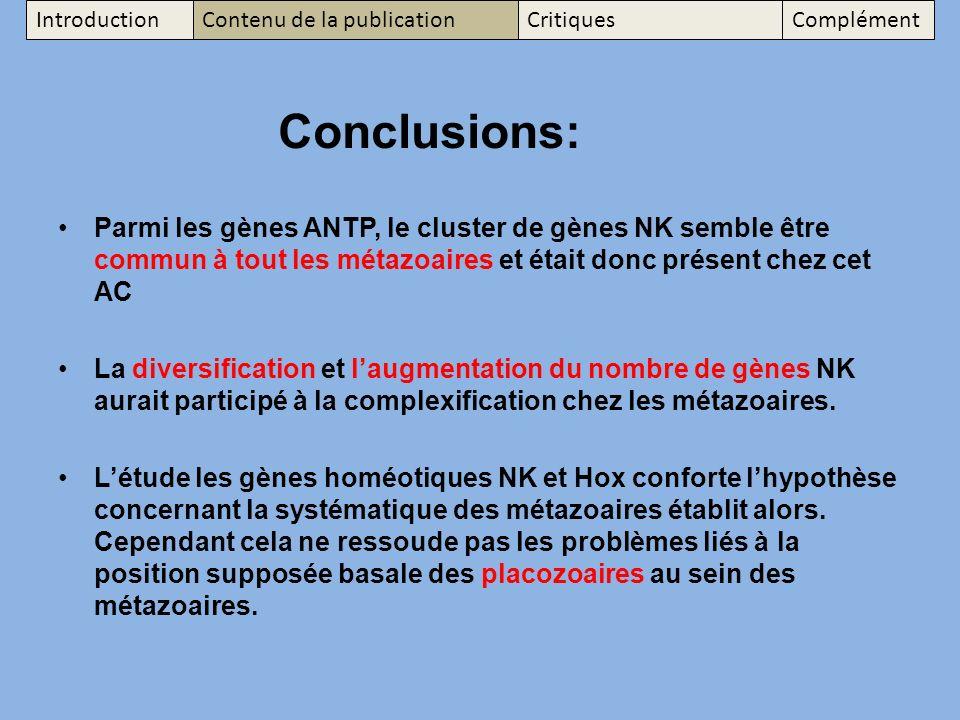 Introduction Contenu de la publication. Critiques. Complément. Conclusions: