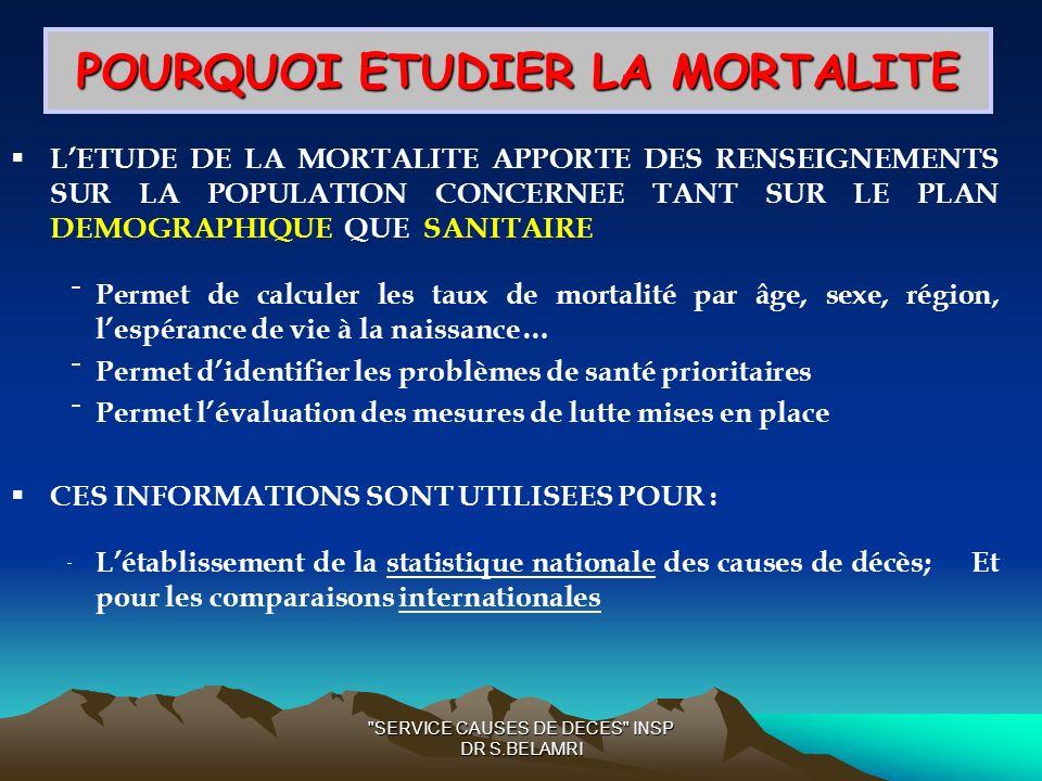 POURQUOI ETUDIER LA MORTALITE