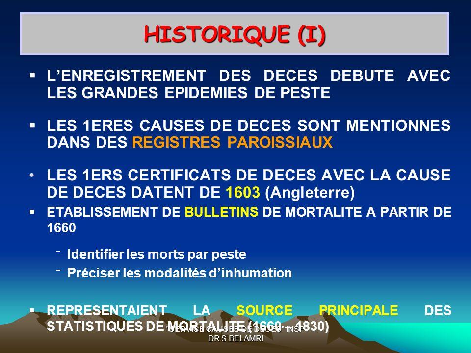 Dr BELAMRI UNITE CAUSES DE DECES INSP ALGERIE